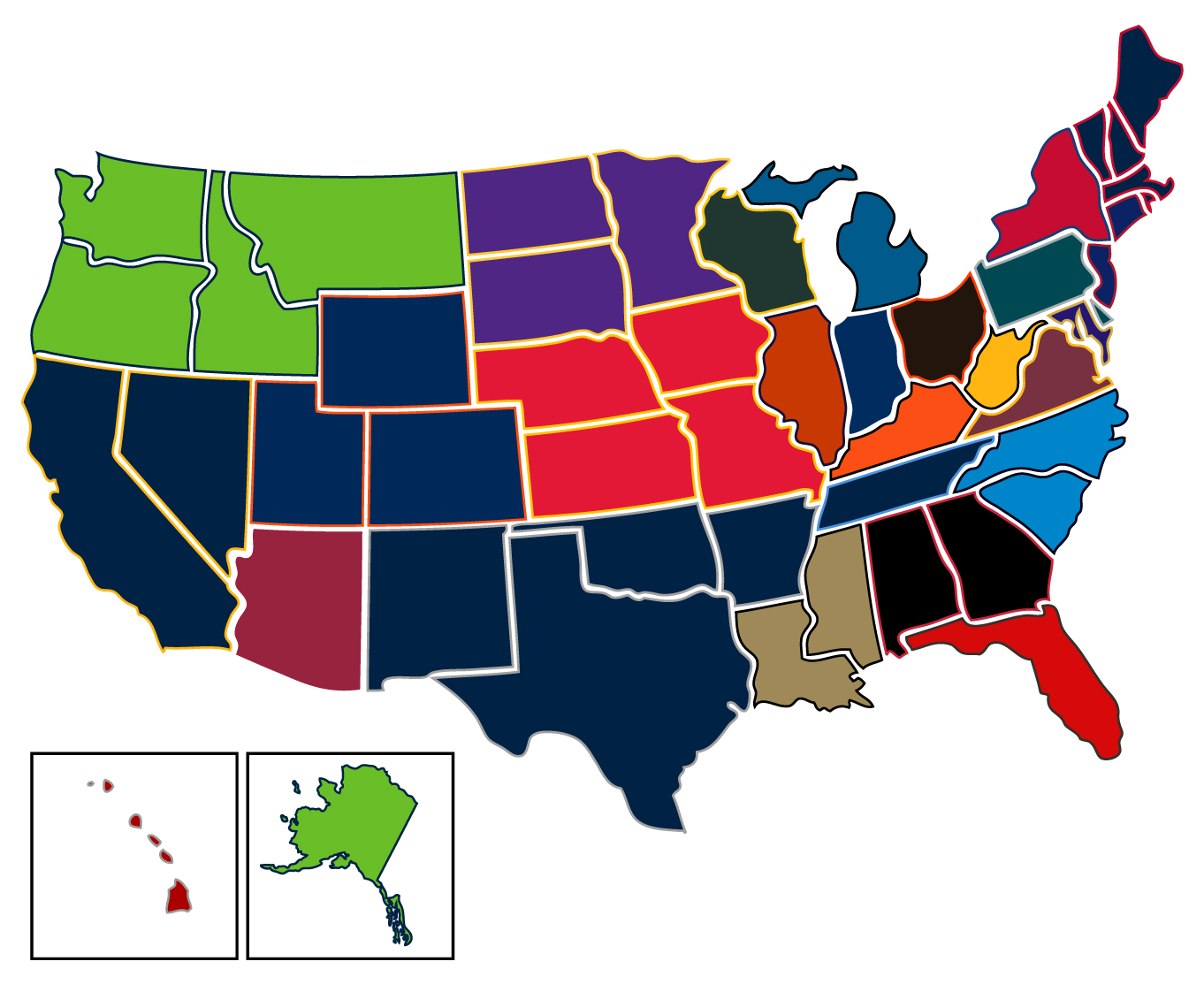 most popular nfl teams by us state