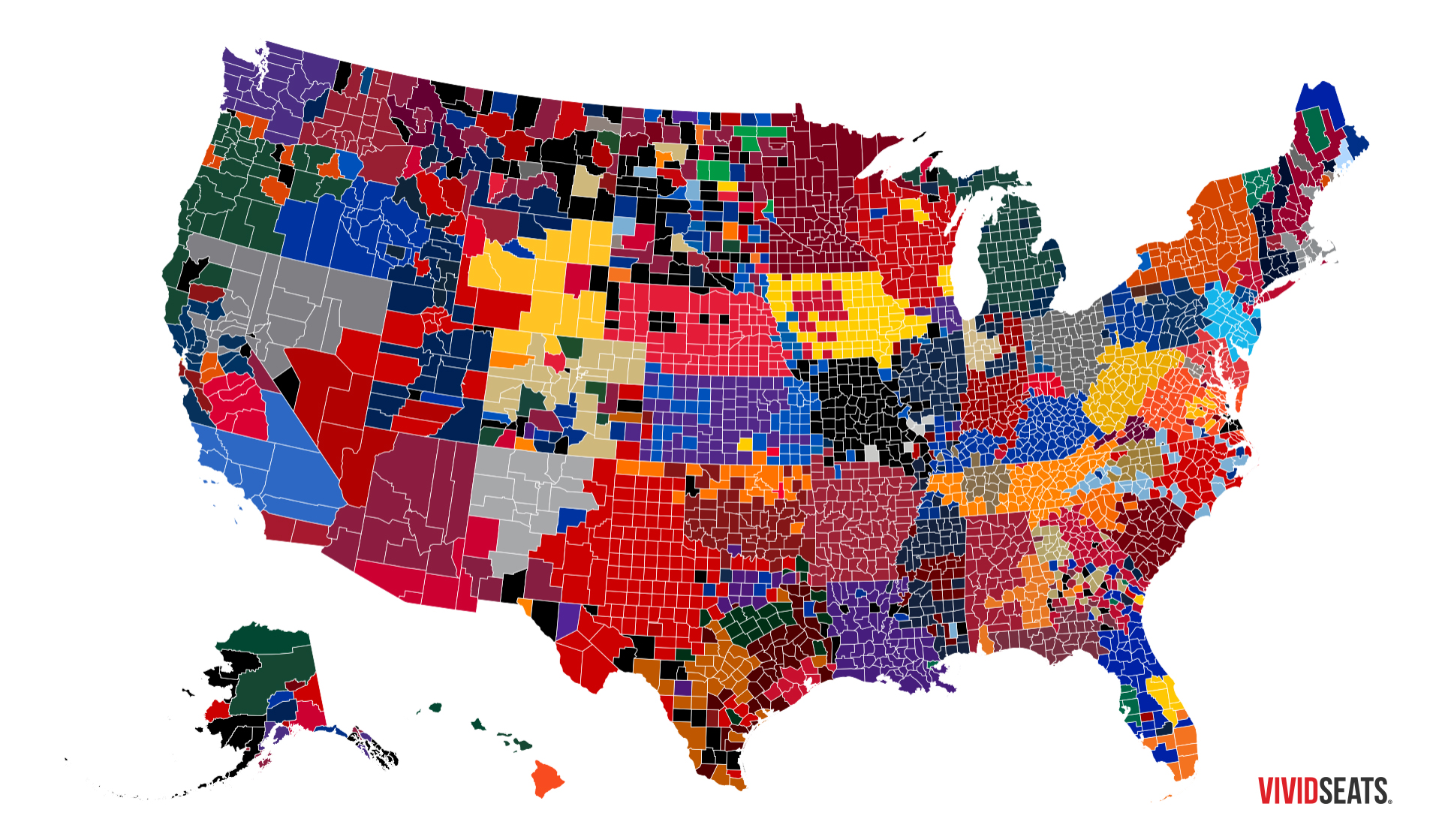 Map The Most Popular Ncaa College Basketball Teams By County