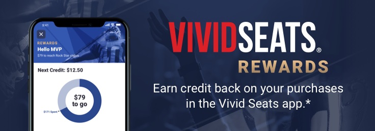 Start earning credit back on your in-app purchases with Vivid Seats Rewards