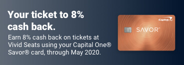 Get cash back when you buy tickets with your Savor card on Vivid Seats